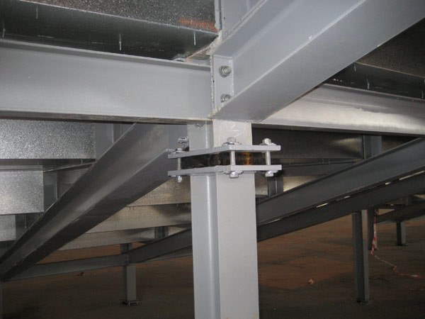 Laminated Steel Pipe ~ Raked seating rubber bearing mason uk