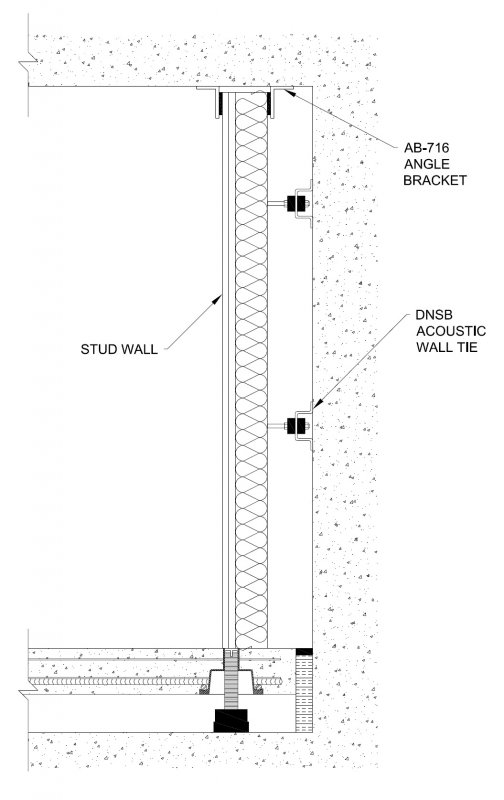 Isolated Stud Wall Cross Section Wall On Floor Edge